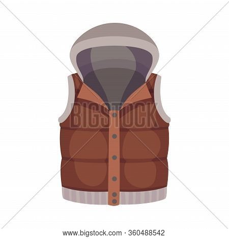 Brown Buttoned Vest With Hood As Male Clothing Item Vector Illustration