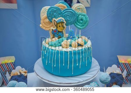 Bright Cake For A Child For Four Years With Gingerbread Cookies In The Form Of Heroes Paw Patrol . P