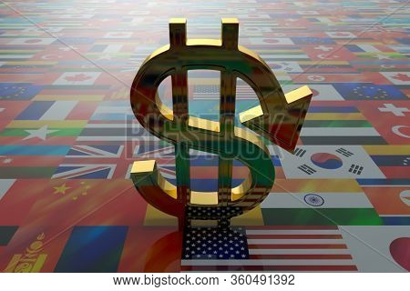 A Dollar Sign With A Downward Pointer, Backlit, Stands On The Surface Of The Flags Of Different Coun