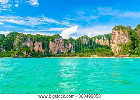 Panoramic View Of Railay Beach At Krabi Town, Thailand. View From Sea Side To Big Limestone Rocks Wi