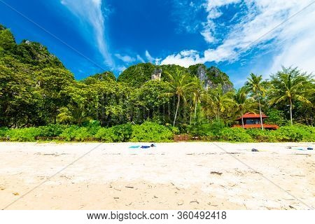 Famous Railay Beach At Krabi Town, Thailand. View Of White Sand And The Jungle In Background. Tropic