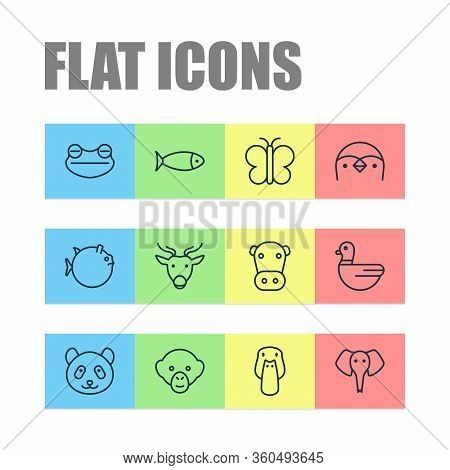 Zoology Icons Set With Cow, Seafood, Butterfly And Other Goose Elements. Isolated Illustration Zoolo