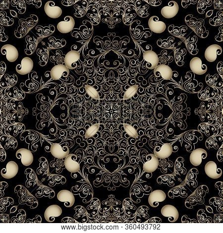 Paisley Seamless Pattern. Vector Ornamental Black Background. Line Art Tracery Vintage Paisley Flowe