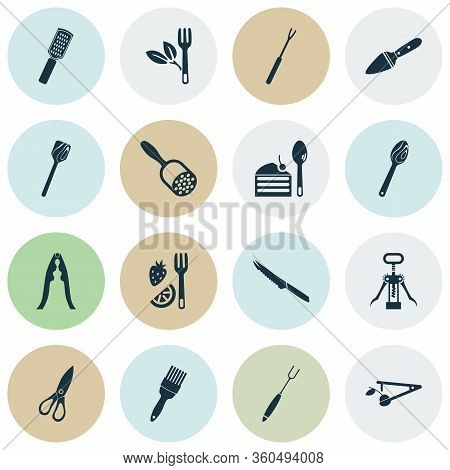 Kitchenware Icons Set With Cake Server, Pastry Brush, Wooden Spoon And Other Turner Elements. Isolat