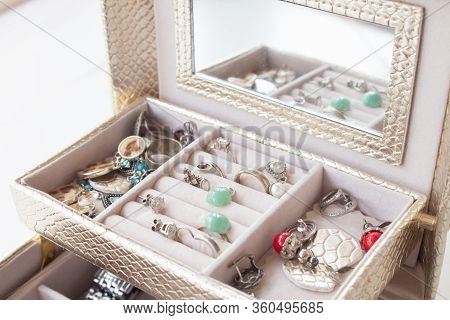 Luxurious Casket With Drawers And Silver Jewelry, Precious Stones, Pearls.