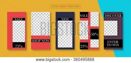 Modern Stories Vector Background. Hipster Sale, New Arrivals Story Layout. Online Shop Graphic Invit