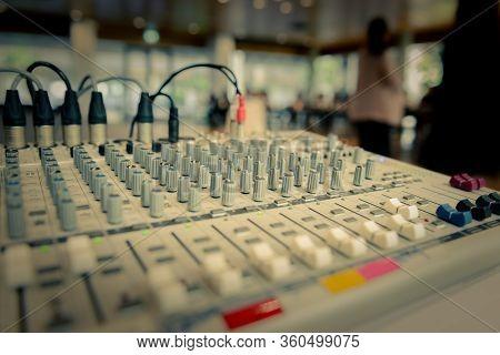 Sound Recording Studio Mixing Desk. Sound Equipment