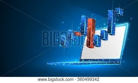 Stock Market Chart On White Laptop Screen. Growing Financial Index. Low Poly, Wireframe 3d Vector Il