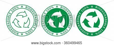 Biodegradable On 100% Label Stamps Icon Set. Recyclable And Biodegradable Packaging Logo Signs Isola
