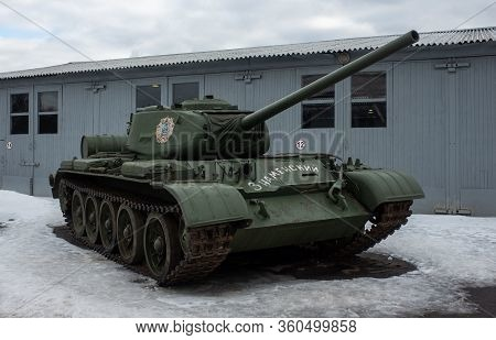 March 23, 2019 Moscow Region, Russia. Soviet Medium Tank Of The World War Ii Period T-34-85 In The C