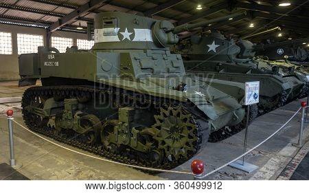 March 23, 2019 Moscow Region, Russia.  American Light Tank Of The World War Ii Period M3 Stuart In T