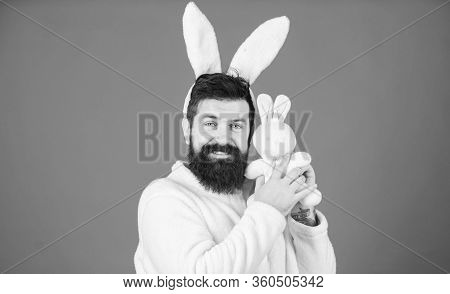 Respect For Traditions. Man Wearing Bunny Plush Suit. Funny Bunny Man With Beard And Mustache. Easte