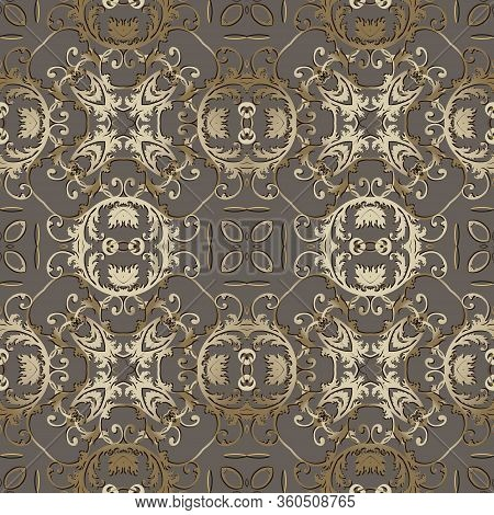Baroque Vector Seamless Pattern. Old Style Floral Damask Background. Beautiful Repeat Colorful Backd