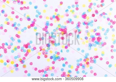 Colorful Confetti On White Background. Flatlay, Top View. Celebration Concept.
