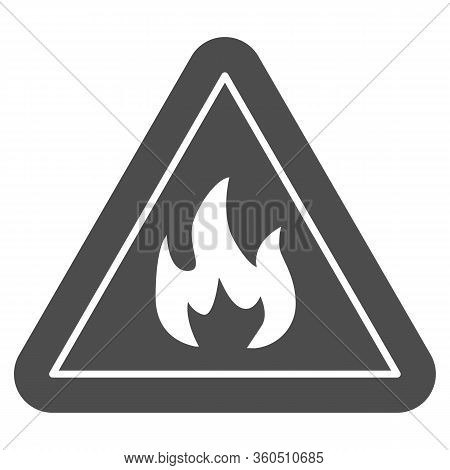 Triangle With Fire Symbol Solid Icon. Flammable Caution Sign Glyph Style Pictogram On White Backgrou