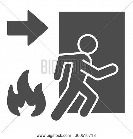Fire Exit Solid Icon. Emergency Evacuation Glyph Style Pictogram On White Background. Flame And Door