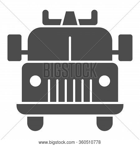 Firefighting Vehicle Solid Icon. Emergency Service Fire Truck Glyph Style Pictogram On White Backgro