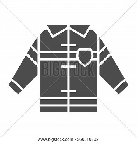 Fireman Uniform Solid Icon. Fireproof Suit Glyph Style Pictogram On White Background. Fire Jacket Pr