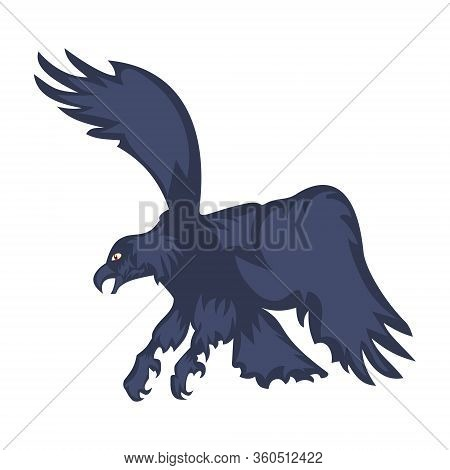 Vector Illustration Attacking Eagle With Spread Wings