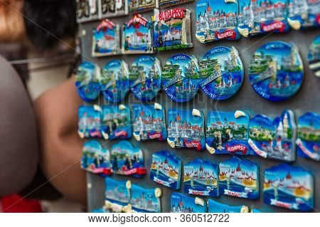 Budapest, Hungary - March 15, 2019: Souvenir Magnets With Budapest View In Souvenir Shop For Sale