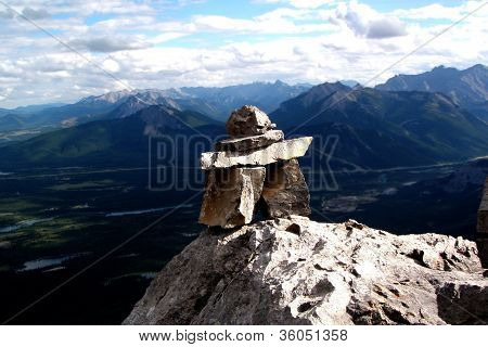 Inukshuk on top of Mount Yamnuska, Alberta