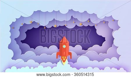 Night Sky Clouds Rectangular Frame And Red Rocket In Paper Cut Style. Cut Out 3d Background With Vio