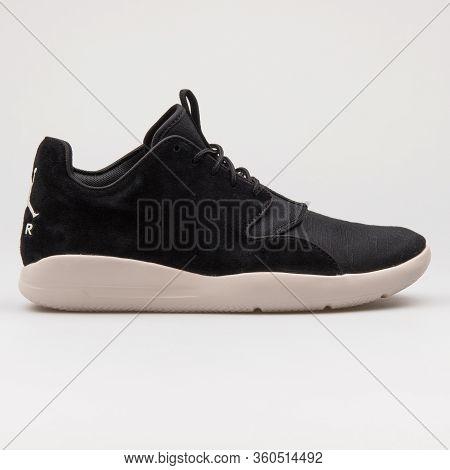 Vienna, Austria - August 16, 2017: Nike Air Jordan Eclipse Lea Black Sneaker On White Background.
