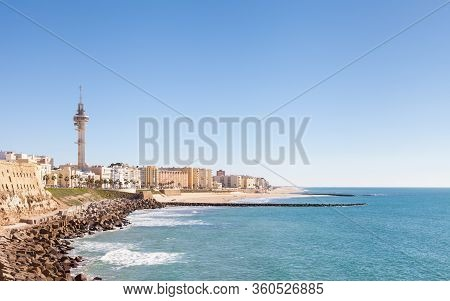 Playa Santa Maria Del Mar.  The Cadiz Waterfront In Spain And The View Along Playa Santa Maria Del M