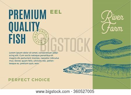 Premium Quality Eel. Abstract Vector Food Packaging Design Or Label. Modern Typography And Hand Draw