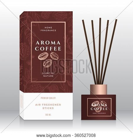 Coffee Beans Home Fragrance Sticks Abstract Vector Label Box Template. Hand Drawn Sketch Flowers, Le