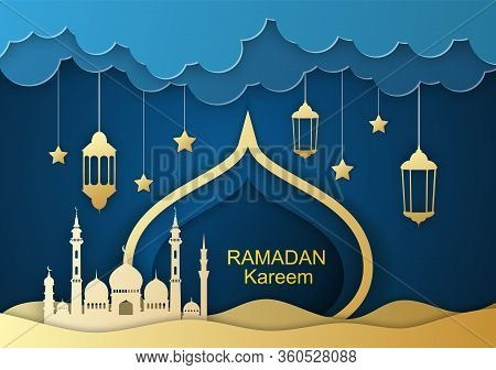 Ramadan Kareem Greeting Card, Design With 3d Paper Cut Symbols Of Ramadan Mubarak, Hanging Gold Lant