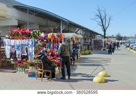 Gomel, Belarus - March 26, 2020: Selling Of Artificial Flowers In Central Market. Absence Of Quarant