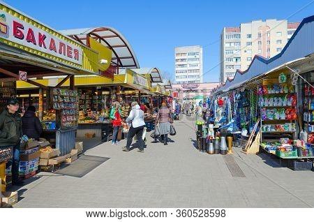 Gomel, Belarus - March 26, 2020: Unidentified People Visit Central Market, Gomel, Belarus. Absence O