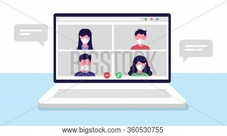 Online Conference Meeting. Remote Workers, Work From Home. Team Call. Vector