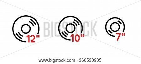 Set Flat Vinyl Disc Icon. Editable Line Vector.