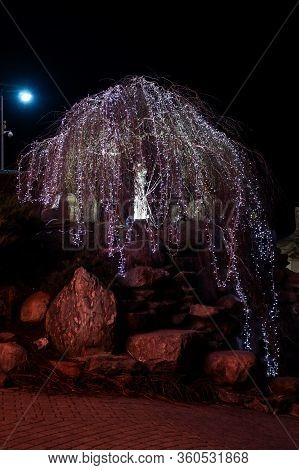 Christmass Celebration Decoration Led Lights. Photo Taken In Europe, Latvia.