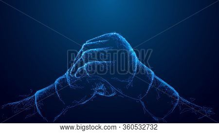 Blue Abstract 3d Isolated Mma Gloves On Innovation Technology Background. Low Poly Wireframe Digital