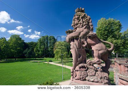 Lion And Schloss Philippsruhe
