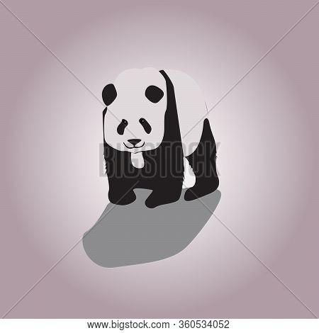 Stylized Giant Panda Full Body Drawing. Simple Panda Bear Icon Or Logo Design. Black And White Vecto