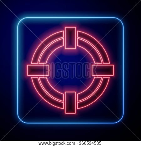 Glowing Neon Lifebuoy Icon Isolated On Blue Background. Life Saving Floating Lifebuoy For Beach, Res