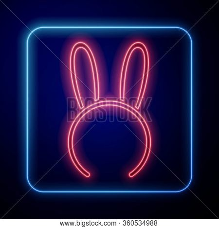 Glowing Neon Mask With Long Bunny Ears Icon Isolated On Blue Background. Fetish Accessory. Sex Toy F