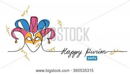Happy Purim Simple Vector Web Banner With Joker Hat . One Continuous Line Drawing, Doodle, Backgroun