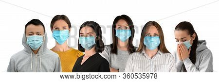 Collage Of People Wearing Medical Face Masks On White Background. Banner Design