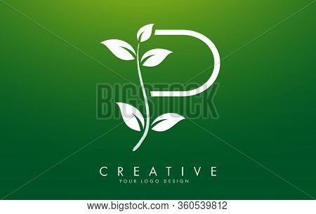 White Leaf Letter P Logo Design With Leaves On A Branch And Green Background. Letter P With Nature C