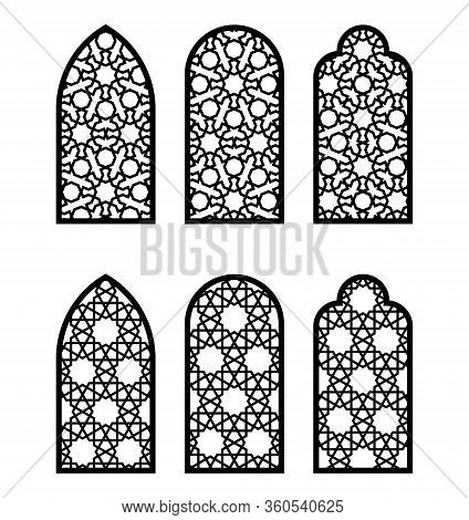 Arabesque Arch Window Or Door Set. Cnc Pattern, Laser Cutting, Vector Template Set For Wall Decor, H