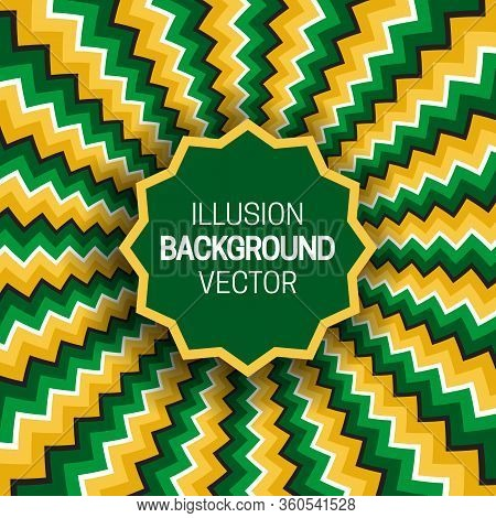Round Frame On Green Yellow Optical Illusion Hypnotic Background Of Rotating Zigzag Stripes.