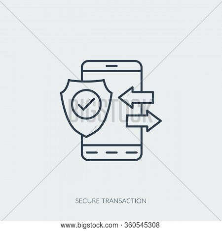 Vector Outline Icon Of Secure Transaction - Mobile Phone With Shield