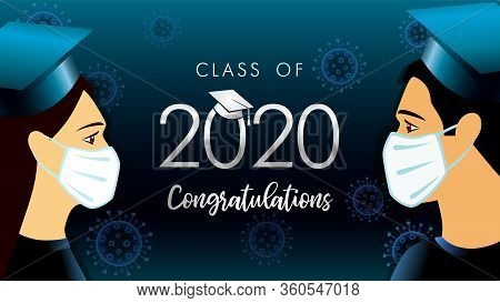 Class Off 2020 Year Congratulation Graduate, Social Distancing Design. Vector Illustration With Stud