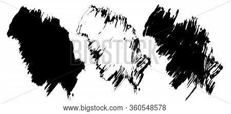 Paintbrush Line Stroke, Art Ink Black Of Stain Splash Dirty Liquid, Splatter.ink Stroke Design Eleme