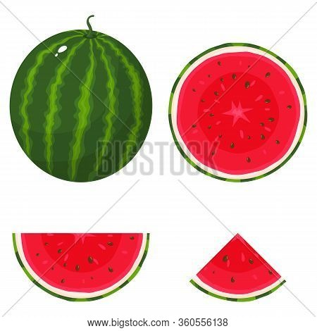 Set Of Fresh Whole, Half, Cut Slice Watermelon Fruit Isolated On White Background. Summer Fruits For